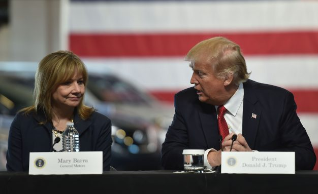 US President Donald Trump delivers remarks at American Center for Mobility in Ypsilanti, Michigan with General Motors CEO Mary Barra and other auto industry executives.